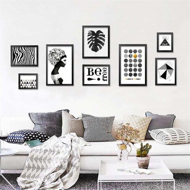 Affiche D Impression Sur Toile D Art Abstrait Noir Blanc