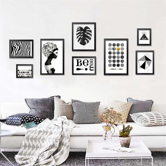 nordique noir blanc de toile d 39 art abstrait imprimer affiche d cor de mur photos pour salon. Black Bedroom Furniture Sets. Home Design Ideas