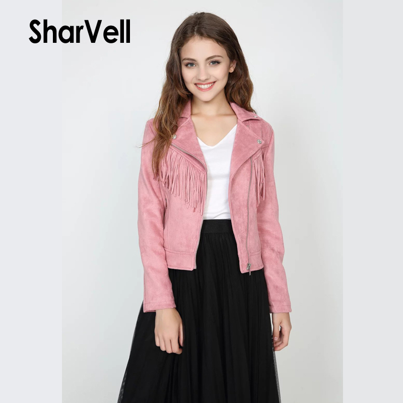 Sharvell Women Polyurethane Jackets Moto&Biker Faux   Leather   Slim Coat Fashion Tassel   Suede   Jacket Basic Zipper PU Cool Outwear