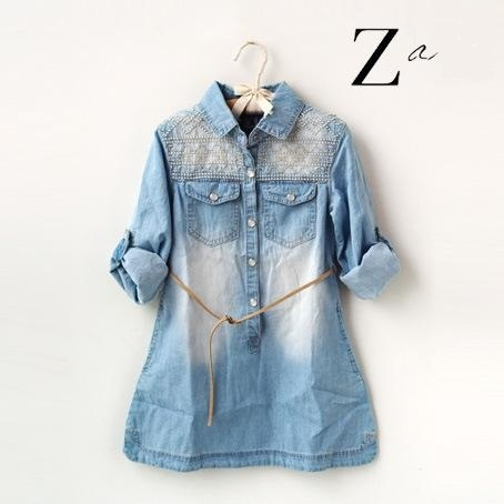 deb6a1b1e 2015 new brand girl long sleeve denim shirt dress with embroidered ...