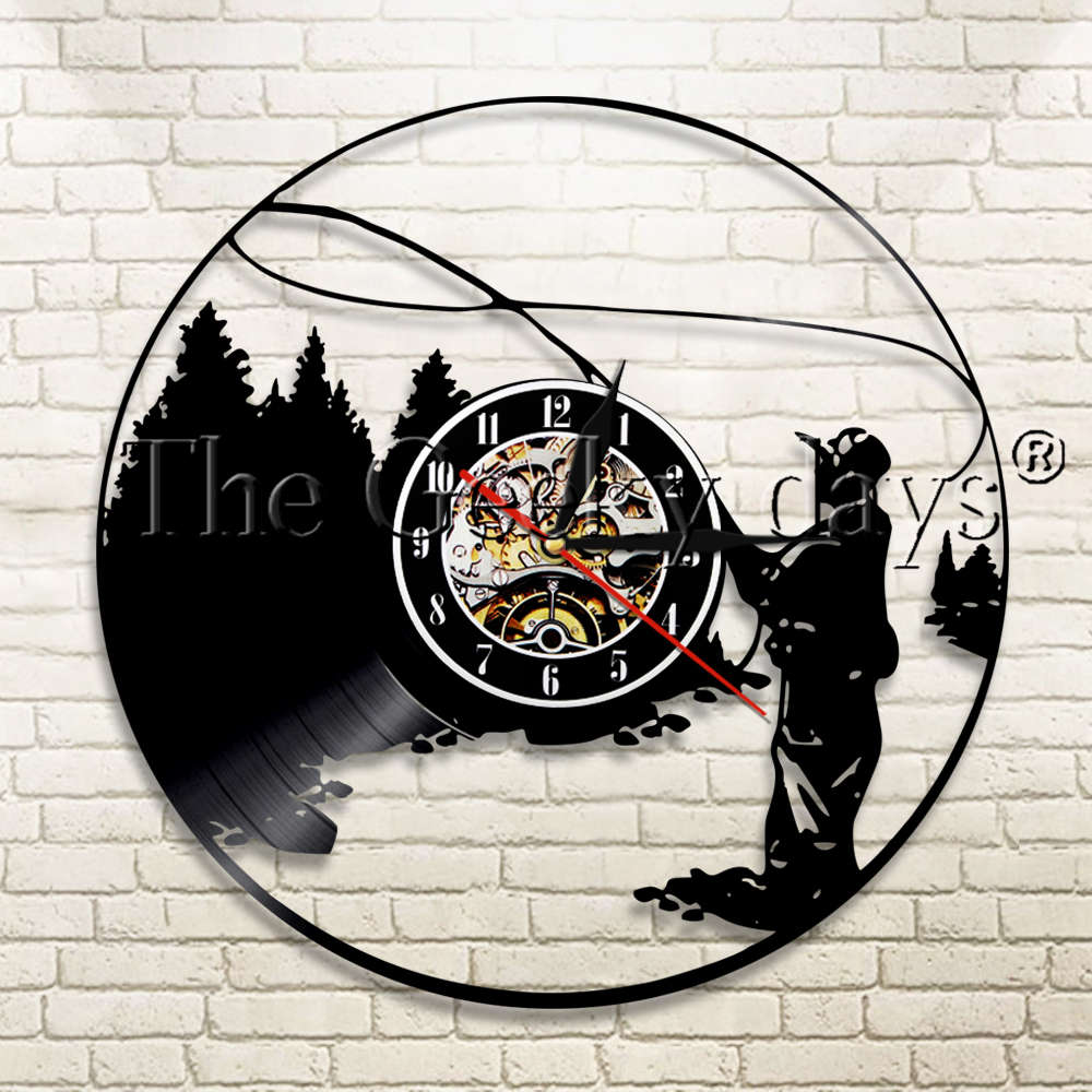 Us 16 91 11 Off 1piece Fisherman Lake Fishing Silhouette Wall Clock Art Home Decorative Modern Outdoor Item Vinyl Record In