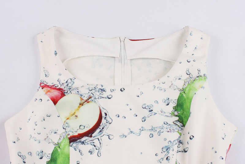 Женское вечернее платье с фруктовым принтом 2018 новое летнее платье трапециевидной формы без рукавов с глубоким вырезом, винтажное платье-миди, элегантное чайное платье на бретельках