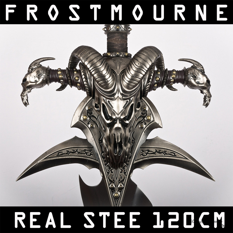 Real Frostmourne Sword Stainless Steel For Video Game The World Of War Craft With Wall Hanging Stand 47 Inch Length