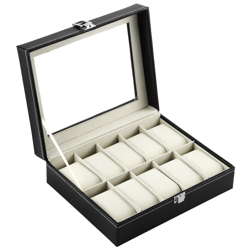 GENBOLI 10 Grids Watch Box Black PU Leather Bracelet Jewelry Storage Holder Organizer Case Packaging Display