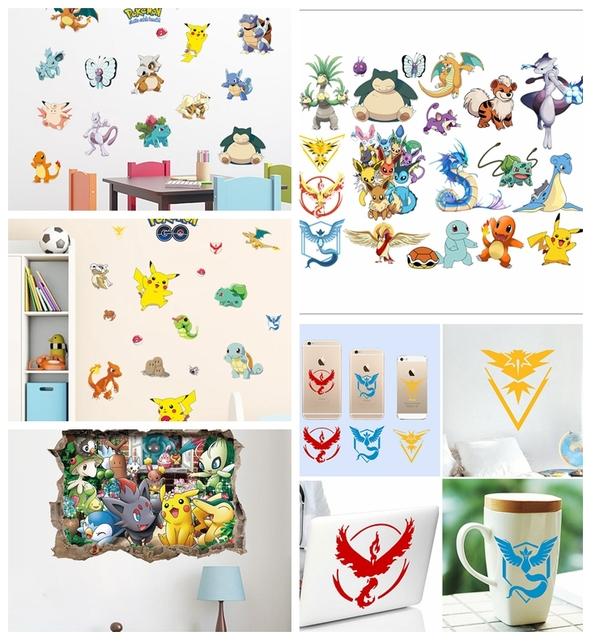 HOT Pokemon Wall Stickers For Kids Rooms Home Decorations Pikachu Wall Decal  Amination Poster Wall Art