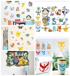HOT Pokemon Wall Stickers for Kids Rooms Home Decorations Pikachu Wall Decal Amination Poster Wall Art Wallpaper Kids