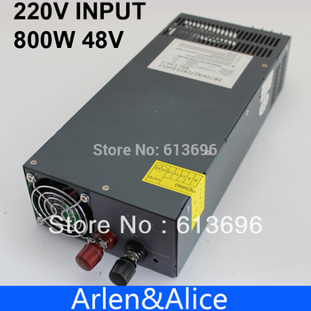 800W 0V TO 48V adjustable 16.6A 220V Single Output Switching power supply for LED Strip light AC to DC
