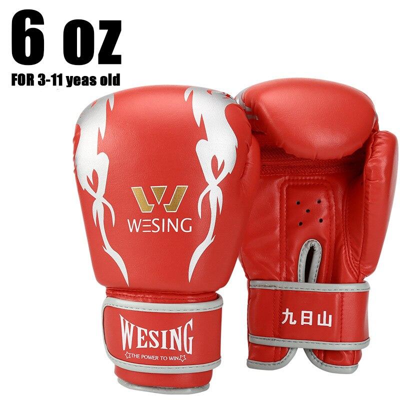 6 OZ gants de boxe enfant PU cuir gants de Fitness gants de combat enfants boxe formation gant Boxeo sac de boxe enfants