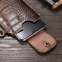 Wrist Hanging Men Genuine Leather Case Mobile Phone Waist Bag Wear Belt Verticle Waist Bag for Samsung Galaxy A7 2018 A6s A8s A9