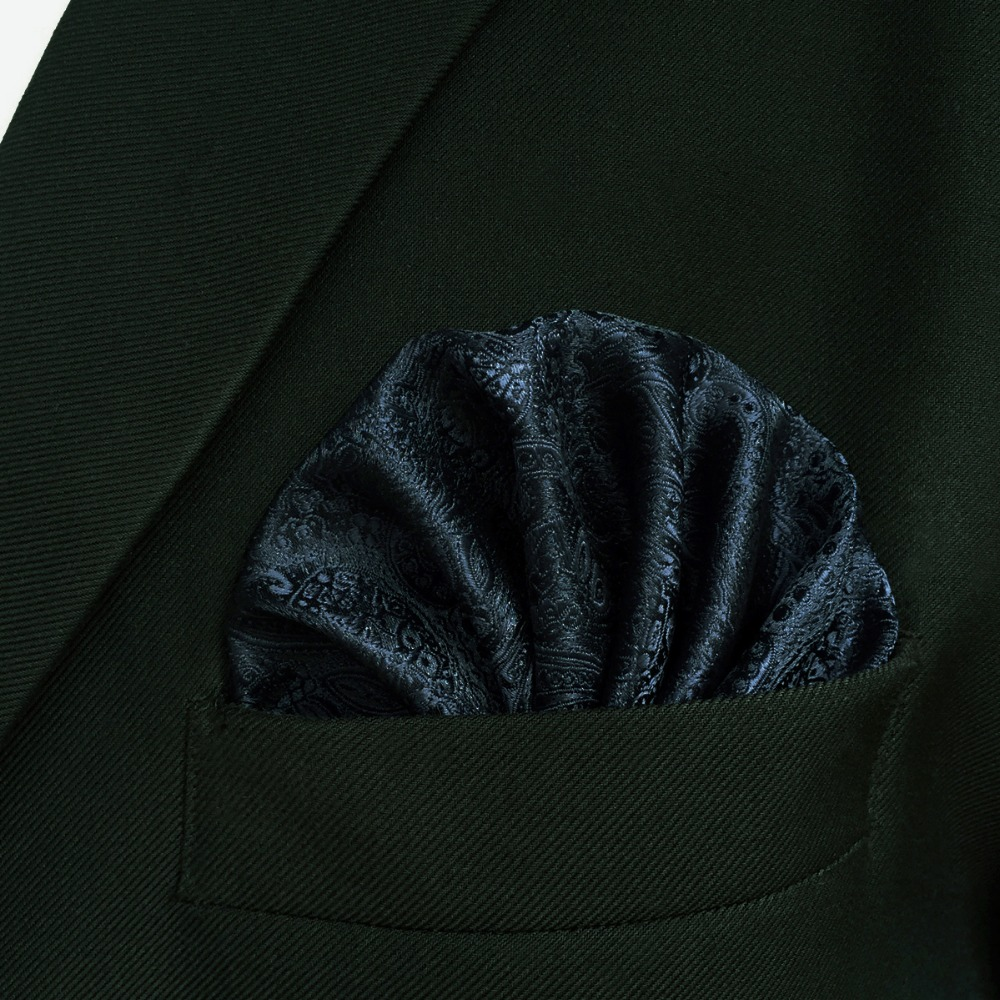 EH14 Navy Blue Silk Mens Pocket Square Fashion Classic Handkerchief Hanky