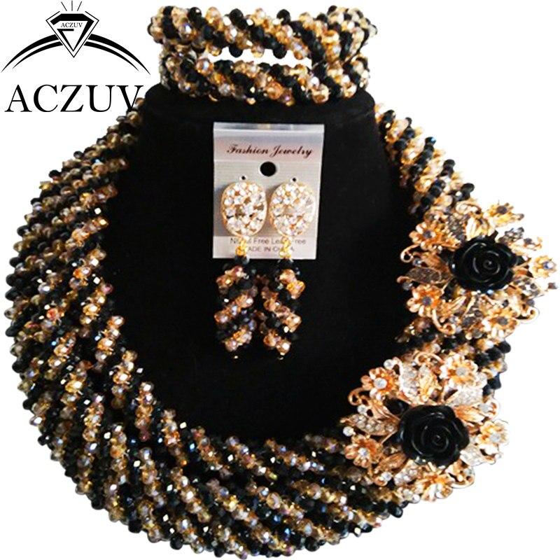 ACZUV noir et or Dubai nigérian perles ensemble de bijoux africains colliers de fête de mariage A3R015