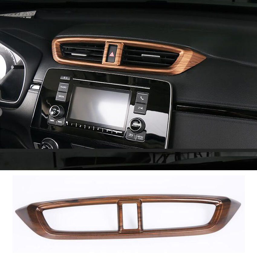 Peach Wood Car Interior Parts Accessories For Honda CRV CR-V 2017 2018 Console Air Outlet Vent Frame Trim Car Styling