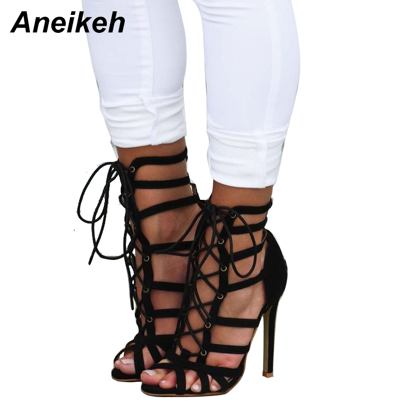 Aneikeh Rome Sexy Summ Women High Heel Sandals Black Gladiator Peep Toe Cross Strap Cut-outs Sandal Thin High Heels Ladies Shoes new women sandals gladiator casual flat heel shoes women fashion back strap peep toe flats heel sandals zipper rome women shoes