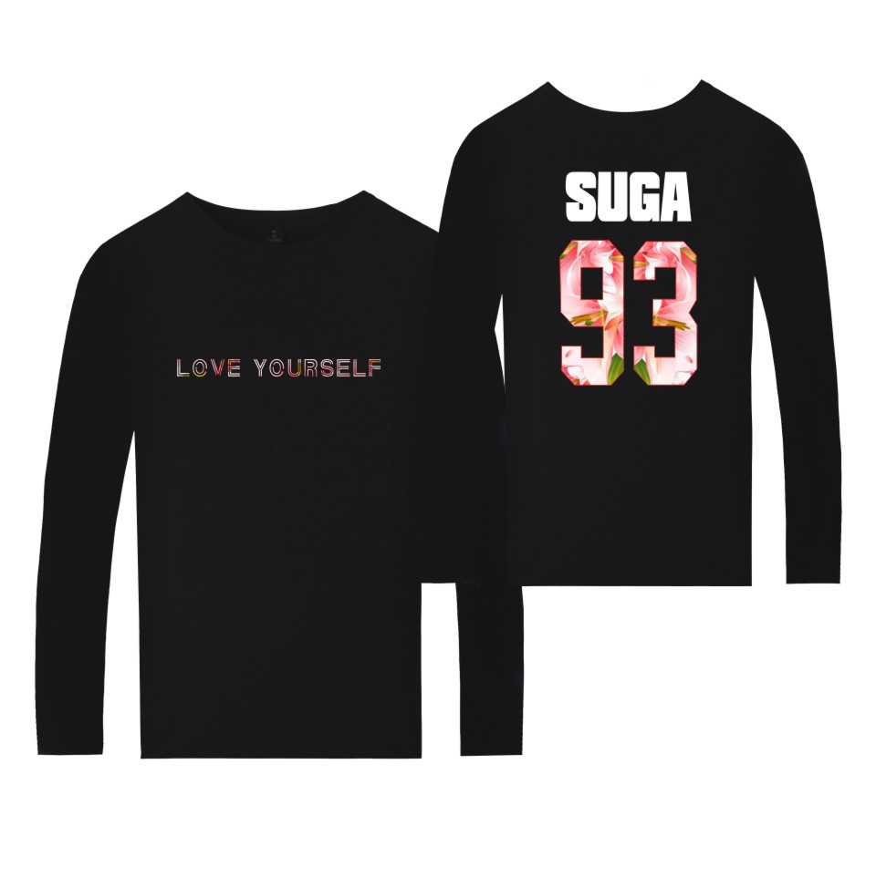 BTS Love Yourself Long Sleeve T-shirt Love Yourself Print Spring Tees Oversized Cotton tee tshirts For A.R.M.Y