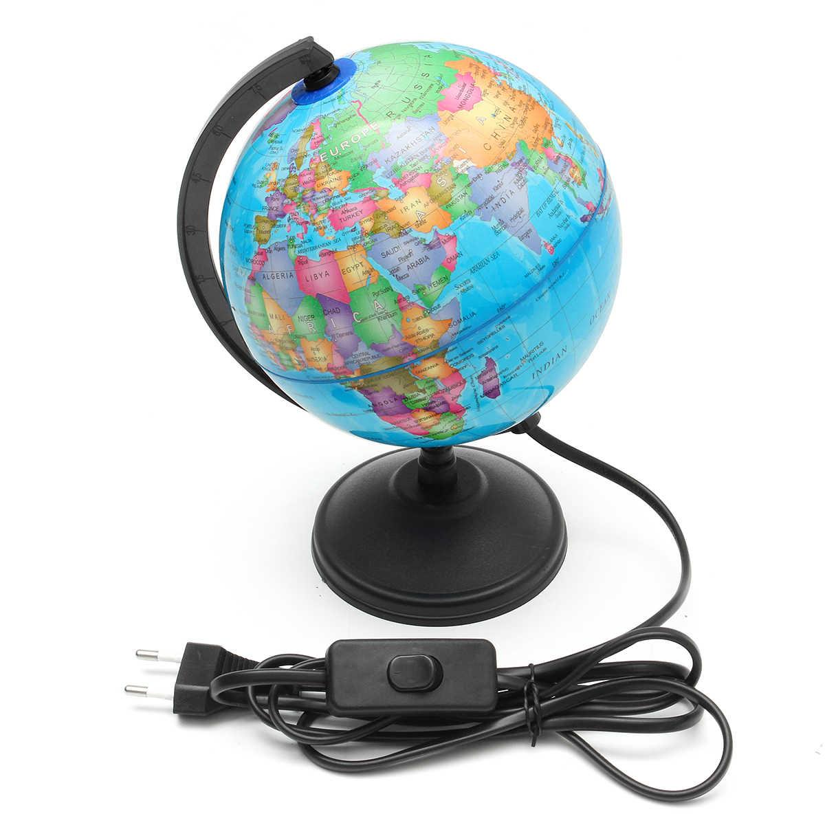 Lampu LED Dunia Bumi Dunia Peta Geografi Pendidikan Mainan dengan Berdiri Rumah Kantor Ideal Miniatur Hadiah Kantor Gadget