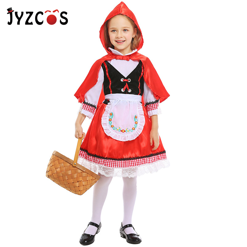 JYZCOS Girls Little Red Riding Hood Costume Halloween Costume For Kids Little Red Princess Cosplay Carnival Costume Fancy Dress