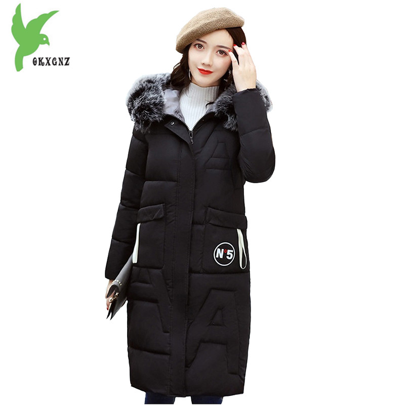 New Women Winter Long Down Cotton Jacket Fashion Solid Color Thick Warm Casual Costume Hooded Fur Collar Plus Size Coat OKXGN885 new winter women down cotton coat fashion solid color hooded casual costume plus size thick warm slim student jackets okxgnz 872