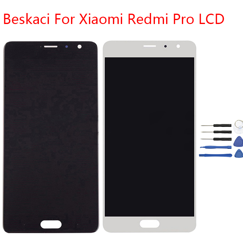 Beskaci For Redmi Pro LCD Display Frame For Xiaomi Redmi Pro OLED Screen Display Touch Panel Digitizer Assembly With Frame Parts