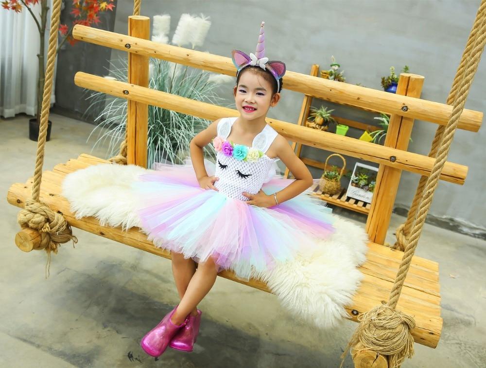 Cute Girl Unicorn Tutu Dress for Little Kid Flower Pony Birthday Party Knee Length Dress Outfit Pastel Unicorn Halloween Costume (5)