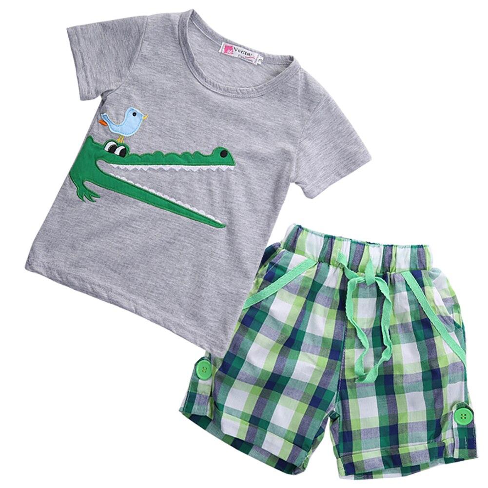 Kids Boys Cartoon Car T Shirt+Plaid Shorts Pants Casual Clothing Sets