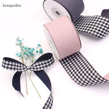 Kewgarden 40mm 25mm 15mm Grid Satin Ribbons Handmade Tape DIY Bowknot Ribbon Garment Accessories Riband Packing Ribbon 5m /Lot