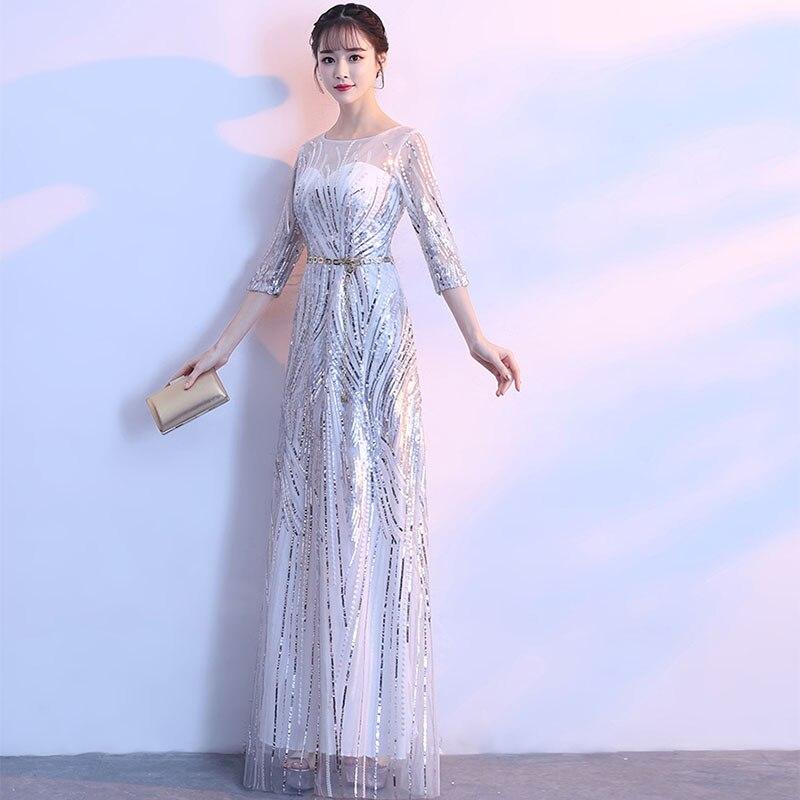 Три четверти Длина рукава вечернее платье с круглым вырезом шеи длинное официальное вечернее платья Металл пояса Пояса Вечерние платья с б...