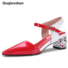 Ouqinvshen Mixed Colors Crystal Heel Woman Sandals 2018  Pointed Toe Plus Size Pumps Women Shoes Fashion Casual Summer High Heel
