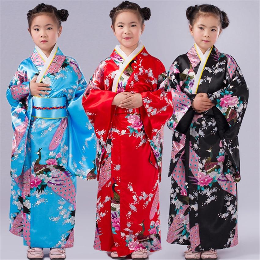 Kids Girls Kimono Dress High Quality Floral Japanese Style Costumes Long Peacock Print Bathing Robe Yukata Traditional Clothing