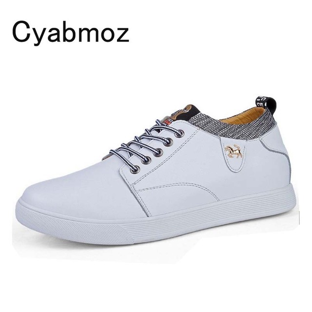 2018 fashion men casual shoes split leather comfortable lace-up height increasing 6cm man elevator shoes hidden heel men's flats