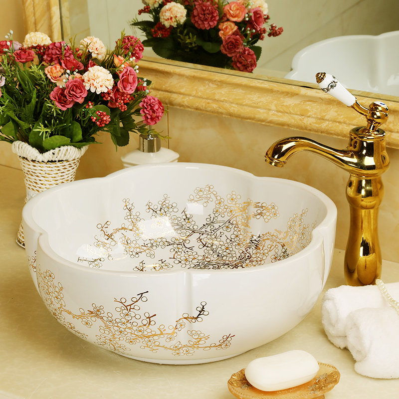 Jingdezhen mano di fatta di ceramica porcellana a forma di fiore bacino del lavandino del bagno