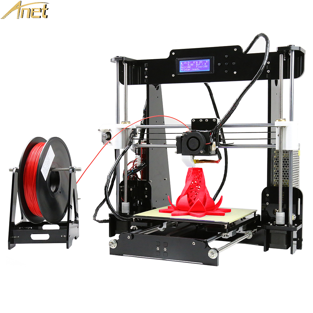 Anet A8 I3 3D Printers Full Acrylic Frame High Precision Reprap 3d Printer Kits DIY 8GB SD Card  2004 LCD with 10M Filament Gift anet a2 high precision desktop plus 3d printer lcd screen aluminum alloy frame reprap prusa i3 with 8gb sd card 3d diy printing