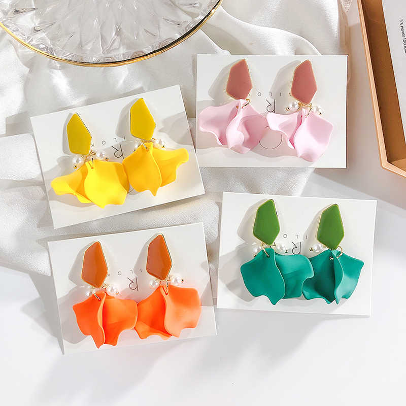 2019 Summer Beach Vacation Multicolor Earrings Flower Petal Drop Earrings  For Women Trendy Jewelry Accessories FSPES290