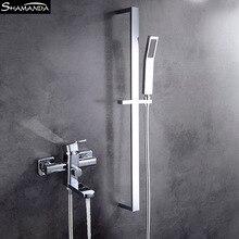 Ванная комната твердая латунь хром смеситель для ванны с душем настенный Ванная комната смесительный клапан с латунная ручка для душа набор