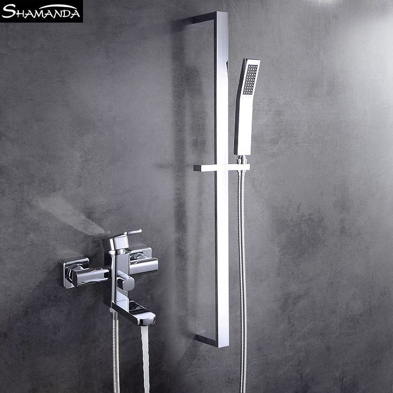 Bathroom Solid Brass Chrome Shower Bathtub Faucet Wall Mounted Bathroom Mixer Valve with Brass Hand Shower Set polished chrome wall mount temperature control shower faucet set brass thermostatic mixer valve with handshower
