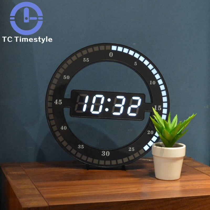 Sala de estar Relógio de Parede Sem Som Criativo LED Eletrônico Digital Simples Noite Brilho Rodada Decoração de Casa Parede Moderno E Minimalista Decoração