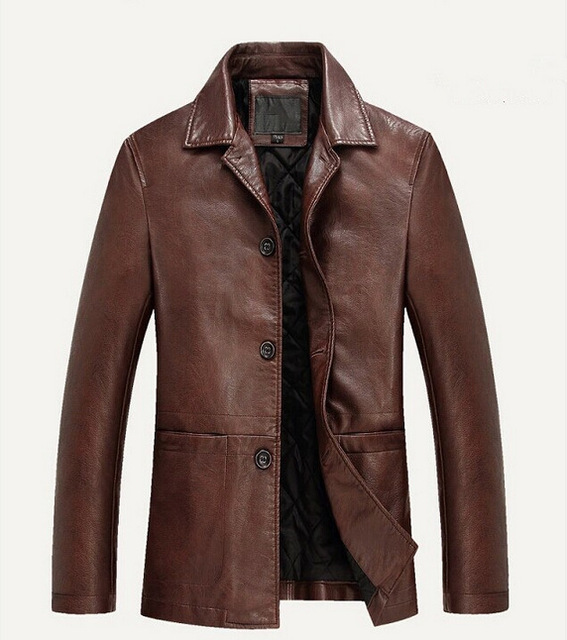 Top Quality New Fashion Men Leather Jacket Long Style Winter Thickening Of Cotton Men's Coats Brand Design PU Jacket M-4XL