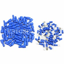 цена на New 100pcs Insulated Spade Electrical Crimp Wire Cable Connector Terminal Kit