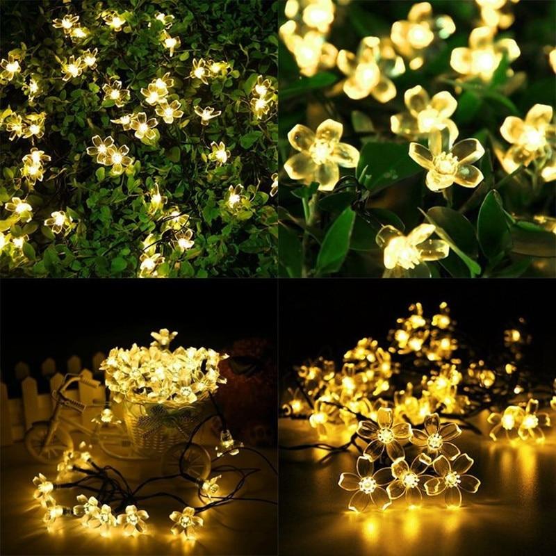 Solar String Lights 7m 50led Peach Flower Vanntett Outdoor Decoration - Utendørs belysning - Bilde 2