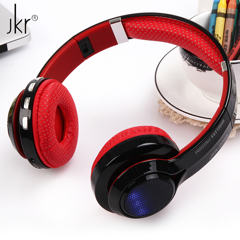 JKR-208B Foldable Colorful LED Light Wireless Bluetooth Headphone Stereo Music Headset with Audio FM Radio TF Card MP3 Earphone haloway party portable wireless bluetooth speaker with colorful led night light shaped tf stereo music adapter card usb fm radio support 3 5mm audio works with any bluetooth enabled device for apple iphone 5s 5c 5 4s 4 ipod ipad 4 3 2 ipad mini samsung