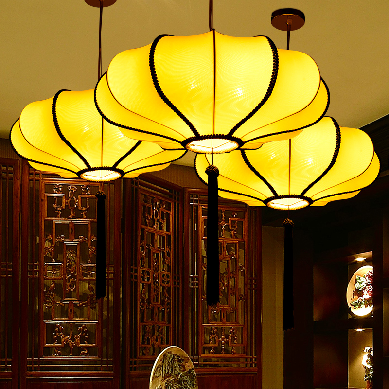 Chinese cloth classical pendant light red/ yellow/blue dining room hotel restaurant shop wedding red lanterns Hot pot lamps ZA yoga nasal washing pot light yellow red
