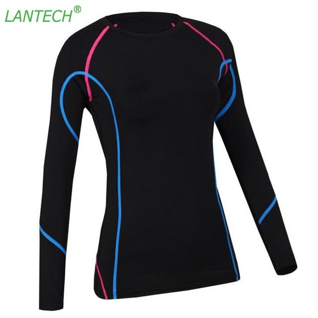 ee7a0a475 LANTECH kobiety koszulka do jogi do biegania sport do biegania odzież  sportowa Fitness ćwiczenia gimnastyczne kompresji koszula ubrania z długim  rękawem ...