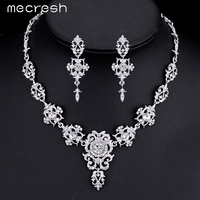 M MJewelry Gorgeous Silver Plated Wedding Jewelry Sets For Brides Crystal Cross Earrings Necklace Jewelry Sets