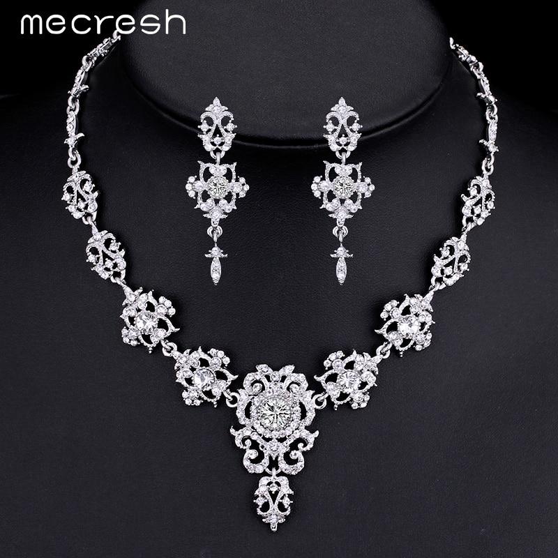 mecresh magnifique cristal ensembles de bijoux de mariage argent plaqu strass fleur boucles doreilles - Inno Be Liste De Mariage