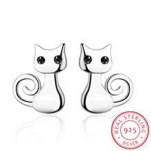 Coleção do gato 925 sterling silver sticky cat animal pequeno parafuso prisioneiro brincos para as mulheres moda prata esterlina jóias sce450