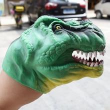 Soft TPR Green Dinosaur Head Hand Puppet Figure Gloves Toys Children Toy Model Gift