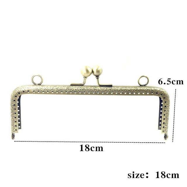 LIONSEN 6.5/7.5/8.5/10.5/12.5/15/18/20cm DIY Metal square Frame Purse Handle Coin Bags Metal Kiss Clasp Lock Frame Accessories 2