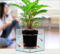 Fashion Clear Aquarium Self Watering Pot Planter Plant Fish Tank Plant Flower Vase Container Storage Case