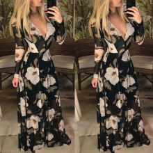 Women Long Sleeve Floral Boho Maxi Dress Ladies Casual Evening Party Beach Sundress