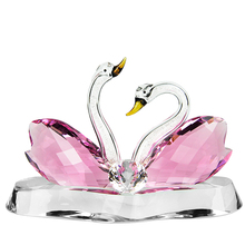 Pink Blue Clear Champagne Glass Crystal Couple Swan, Necks Filled with Crystal Diamonds
