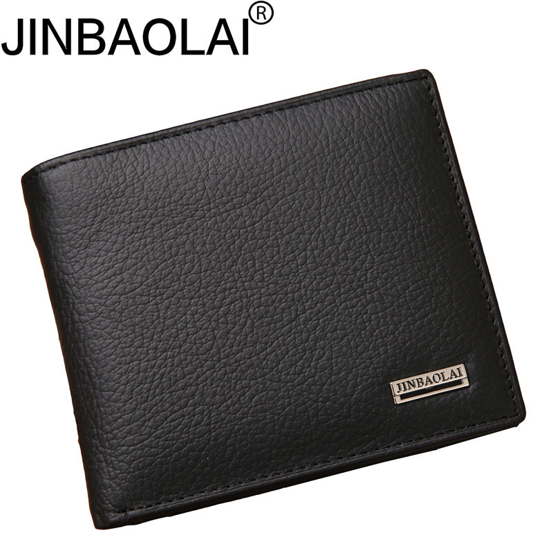 JINBAOLAI Leather Men Wallets Short Coin Purse Rfid Vintage Wallet With Card Holder Pocket Carteira Masculina -- BID051 PM49 baellerry man wallets portefeuille homme card holder coin pocket cuzdan rfid male cuzdan purse clutch short purse with 6 styles
